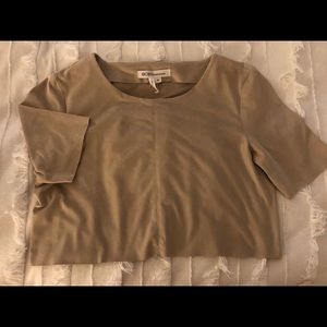 BCBGeneration tan suede cropped shirt
